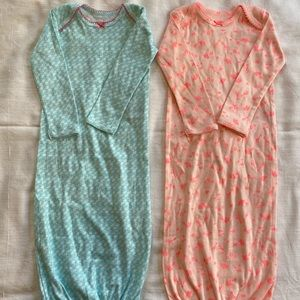 2- Carters Infant Girls Nightgowns (0-3 months)
